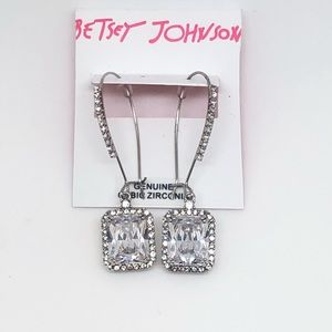Betsey Johnson CZ Emerald cut Earrings